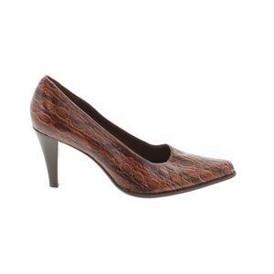 Franco Sarto croc Leather heel brown pointy